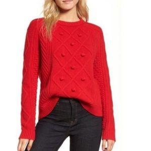 J. Crew Red Pom Pom Cable Knit Wool Sweater Sz S